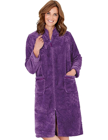 Zip Through Waffle Fleece Dressing Gown