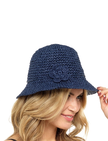 Straw Hat with Flower Trim
