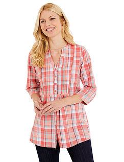 Coral Check Blouse