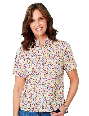 Short Sleeved Cotton Print Blouse
