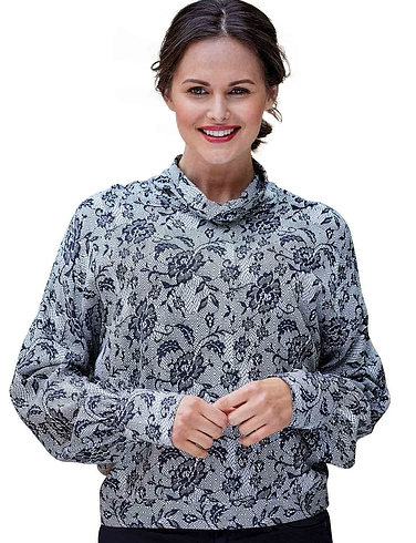 Double Two  Lace Print Cowl Neck Blouse