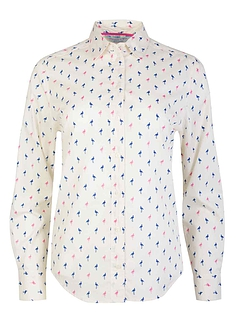 Doubel Two Flamingo Print Shirt - Cream