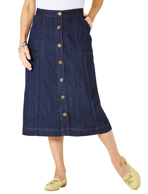 denim button through skirt chums