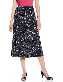 Spot Print Skirt - 29 Inches - Navy