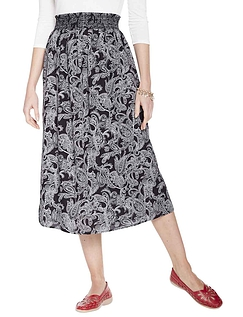 Smock Waist Print Viscose Skirt