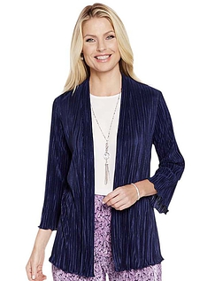Navy Plisse Soft Jacket
