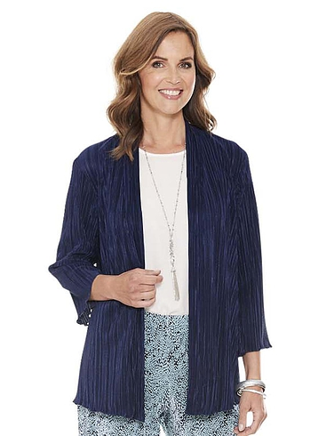 Navy Plisse Soft Jacket - Navy