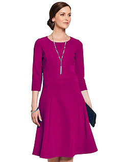 Rib Dress and Necklace - MAGENTA