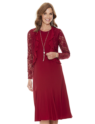 Lace Trim Dress and Bolero Set 43 Inches