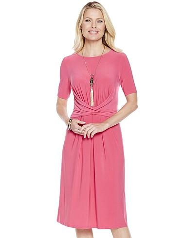Wrapover Front Dress in Magenta