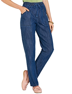 Ladies Elasticated Waist Pull On Jean - STONEWASH