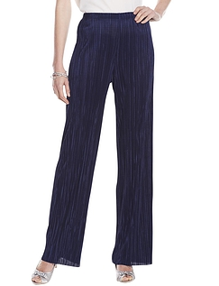 Ladies Plisse Trouser - Navy