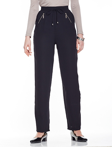 Crepe Zip Pocket Trouser
