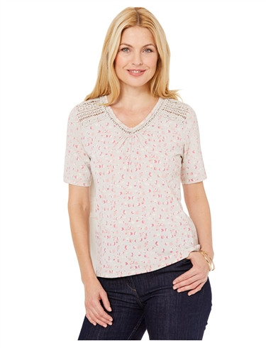 Lace Shoulder V Neck Print Top