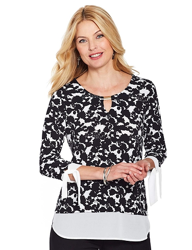 Print 3/4 Sleeve Top With  Georgette Trim