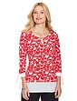 Print Three Quarter Sleeve Top with Georgette Trim