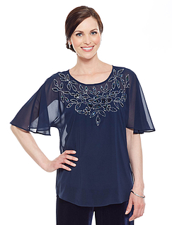 Beaded Angel Sleeve Top - Navy