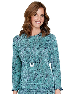 Plisse 3/4 Sleeve Print Top - Sea Green