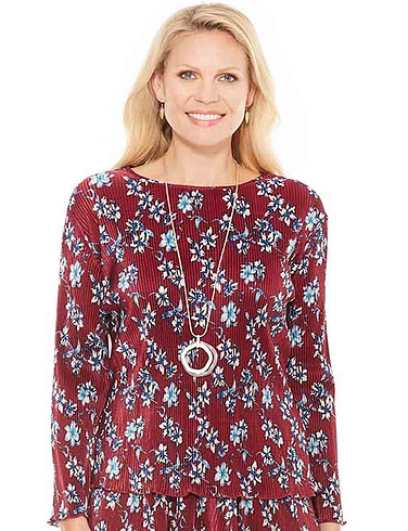 Plisse 3/4 Sleeve Print Top