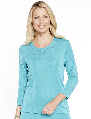 Slinky Three Quarter Sleeve Top