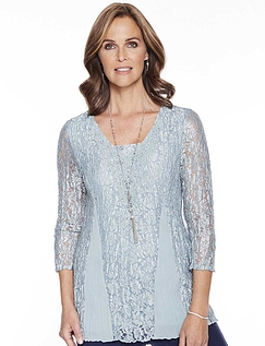 Lace Panel 3/4 Sleeve Top