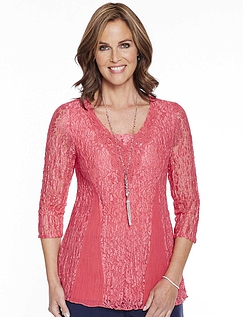 Lace Panel Three Quarter Sleeve Top