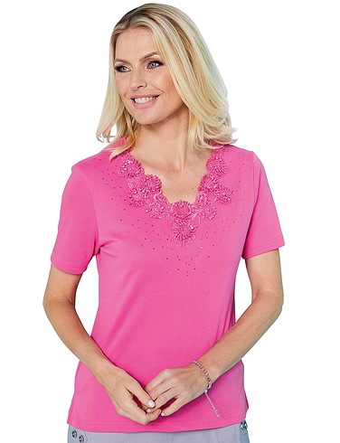 Lace & Diamante Neck T Shirt