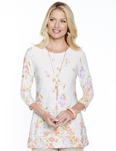 Flower And Butterfly Print Top