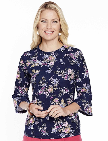 Floral Print Flare Sleeve Top