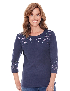 Embroidered 3/4 Sleeve Top