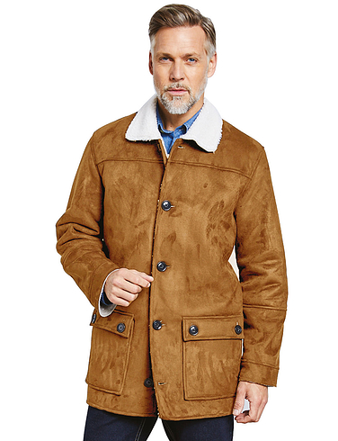 Mock Sheepskin Carcoat