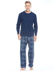Drop Needle Fleece Top With Brushed Cotton Check Pant