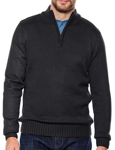 Mens Zip Neck Jumper With Rib Detail