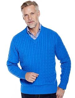 Pegasus Cotton Cable V-Neck Sweater
