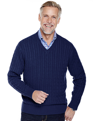 Pegasus Cotton Cable V-Neck Sweater