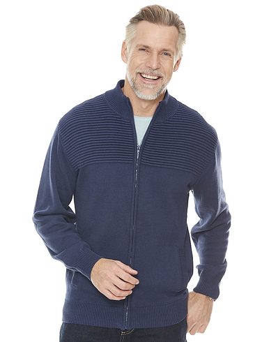 Mens Cotton Zipper with Textured Panel