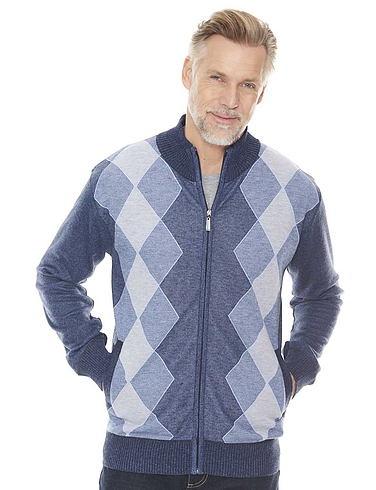 Argyle Men's Jacquard Zipper