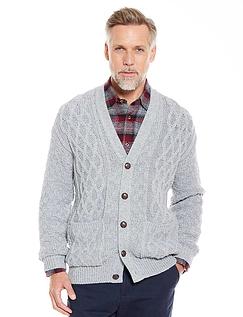 Aran Style Cardigan - Grey