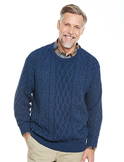 Aran Style Crew Neck Sweater
