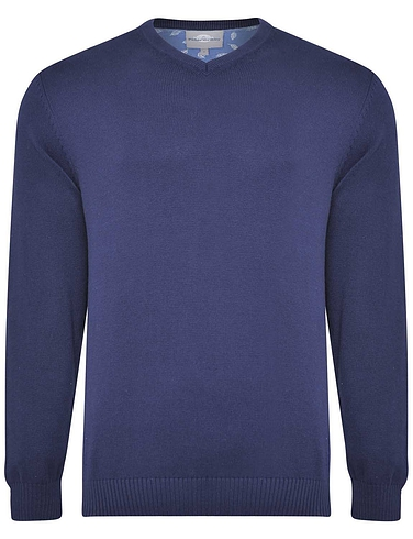 Peter Gribby Premium Combed Cotton V Neck Jumper