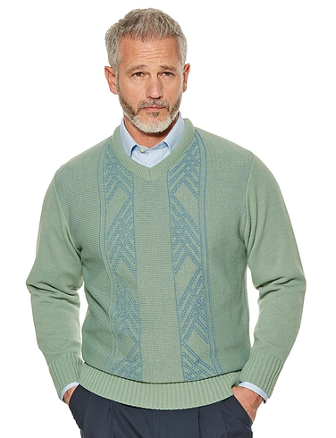 Woodville Jacquard V-Neck Sweater