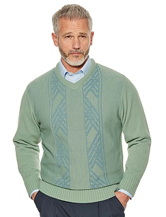 Woodville V Neck Jacquard Sweater