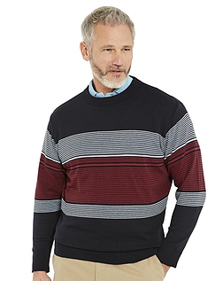 Pegasus Multi Stripe Crew Neck Sweater