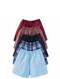 Pack Of 5 Plain Woven Boxer Shorts