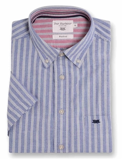 Bar Harbour Stripe Short Sleeved Casual Oxford Shirt