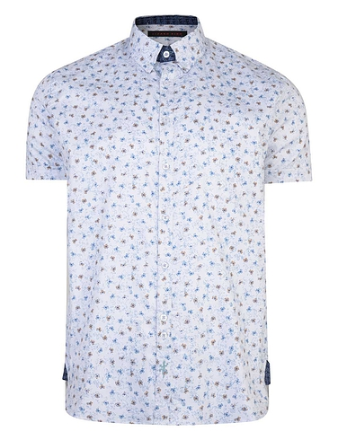 Short Sleeve Floral Print Shirt With Button Down Collar