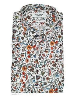 Southern Comfort Long Sleeve Floral Print Shirt - White