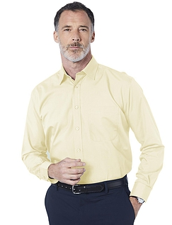 Double Two Non-Iron Long Sleeved Shirt - Lemon