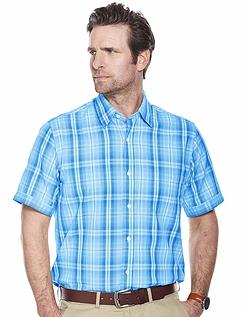 Short Sleeve Check Shirt - Blue