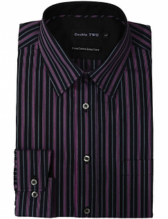 DOUBLE TWO EASY CARE COTTON STRIPE SHIRT
